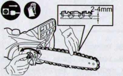 натяжка провисшей цепи электро пилы
